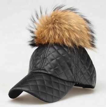 e06ad911a8d Leather Fur Ball Baseball Cap -pu Leather Pompom Woman Sport Hat ...