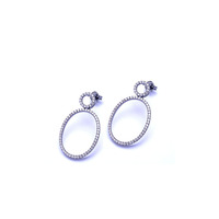 gun black plated big round high quality zircon stone fashion earring with stud