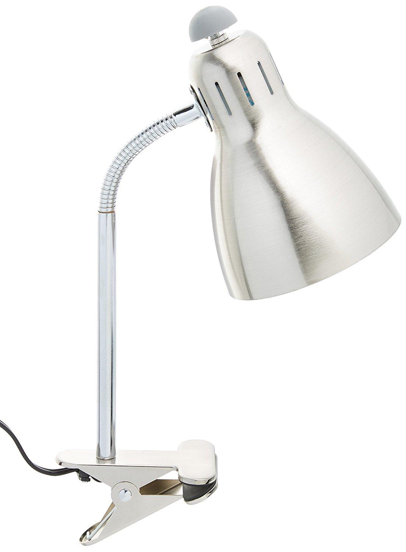 Simple Designs Home LD2016-BSN Simple Designs Adjustable Clip Light Desk Lamp, Brushed Nickel