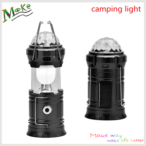 2017 Newing durable outdoor camping lantern 3 colors 6 leds camping decorative light with disco light