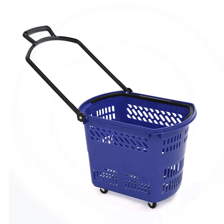 Colorful plastic rolling shopping basket with handle for supermarket