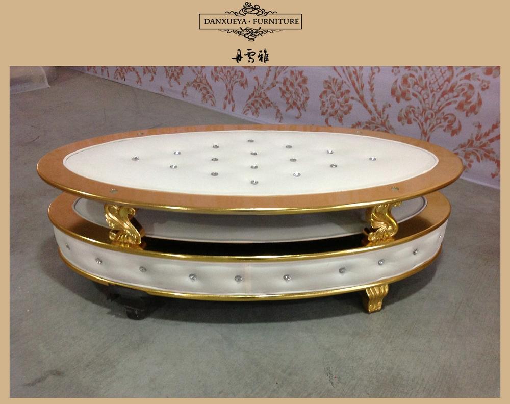 Danxueya Oval Gold Beige Velvet Luxury Royal Coffee Table With