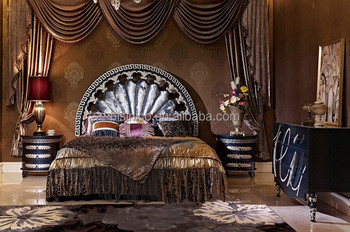Vintage Classical Bedroom Furniture Set, Italian Style Carved Wooden Bed  With Night Stand, Retro Imperial Bedroom Set, View luxury italian style ...