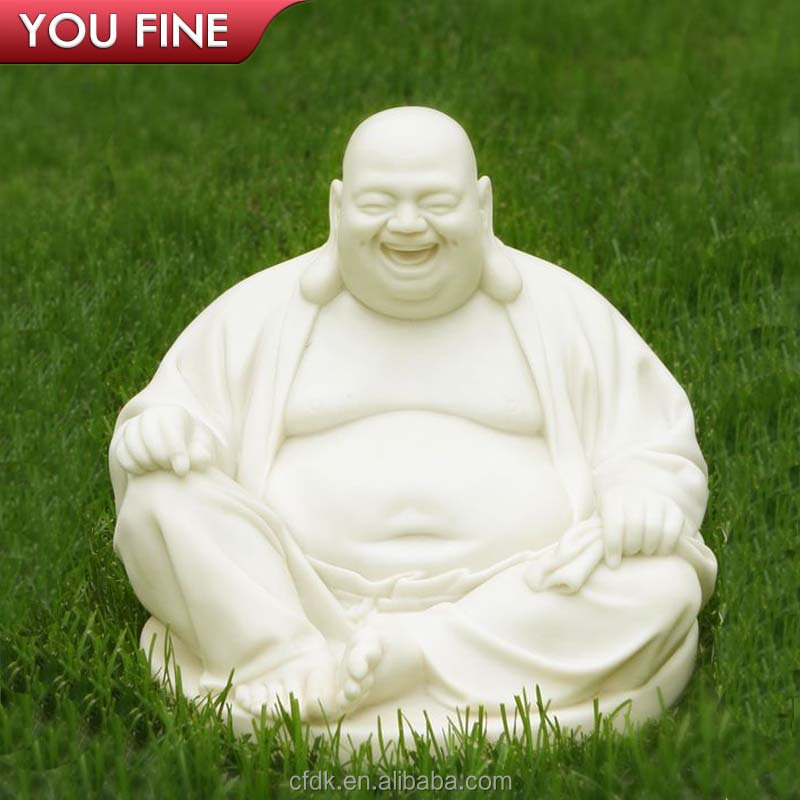 Large White Stone Marble Laughing Buddha Garden Statue for Sale