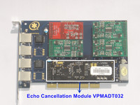 Free shipping 1 FXO+3 FXS TDM410P with Echo Cancellation 4 ports Asterisk card Digium PCI card TDM410 WILDCARD