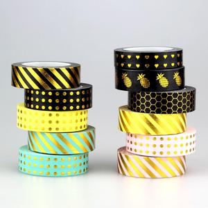 15mm width washi tape custom 10m gold foil masking tape for planner decorative tape