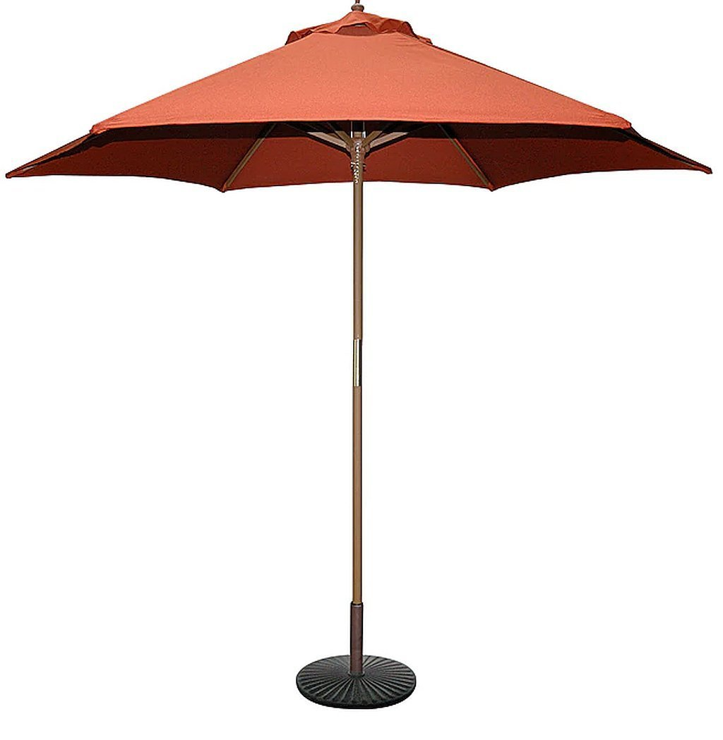9-Foot Rust/Teak Finish Wood Polyester Weather Resistant Single Wind Vent Patio Umbrella Shade, Dimensions 56 Highx108 Diameter