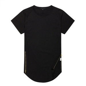 Wholesale mens longline t shirts side zipper t shirt 100% cotton tees hip hop tee shirt