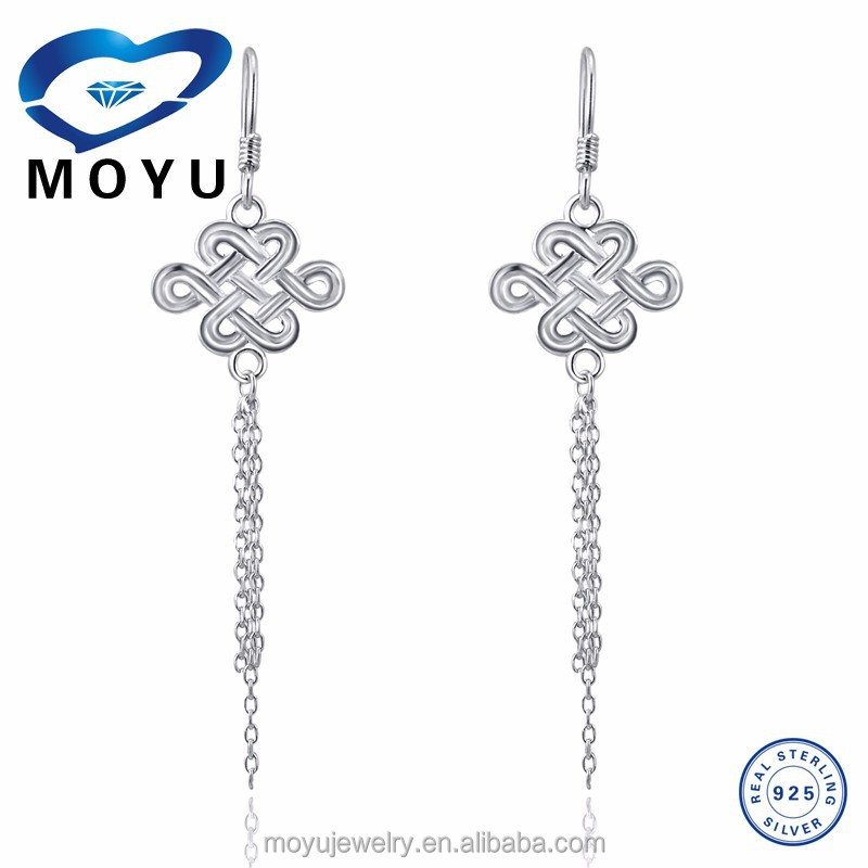 2015New design earring in 925 sterling silver with silver chain drop factory price fast delivery