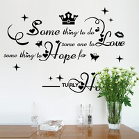 Romantic English Letter Truly Happy Wall Decal Quotes for Bedside Deco