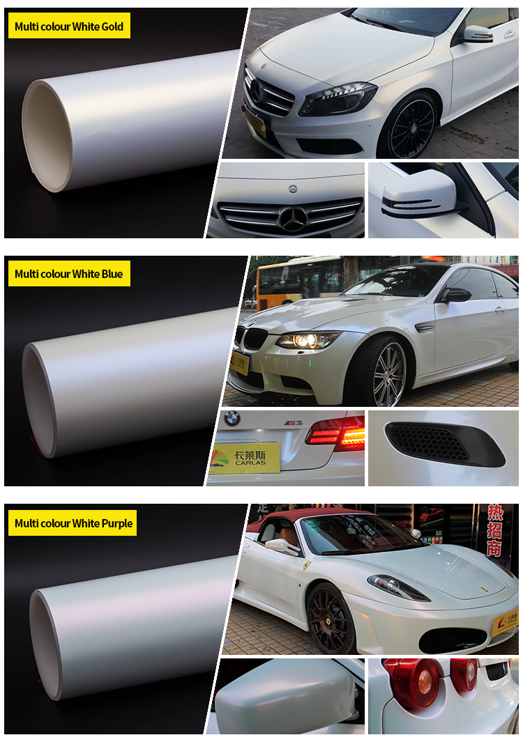 Carlas top cool body clothes metal pearl white film cool car stickers