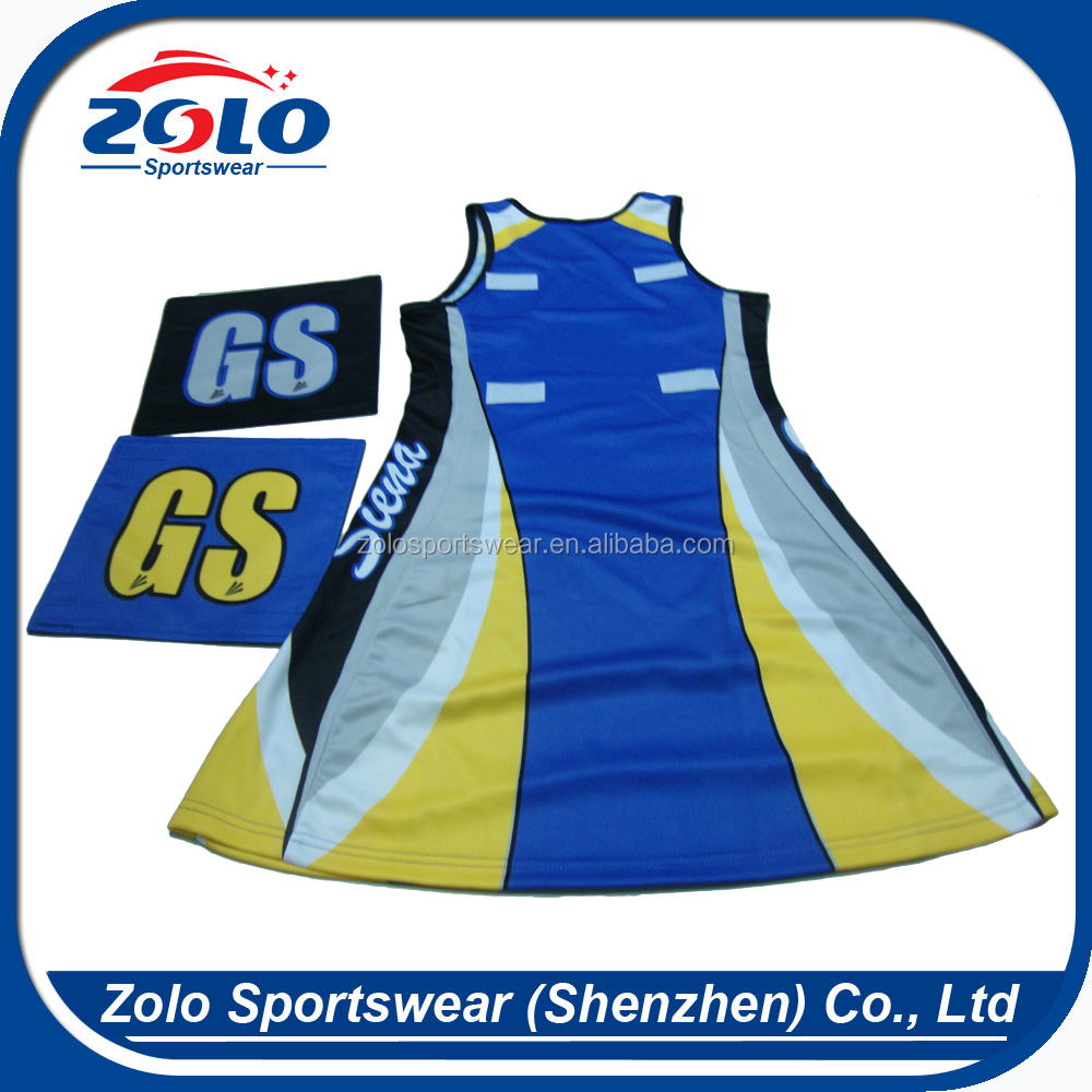 Factory latest style fashionable slim fit sublimation netball jersey