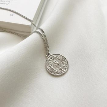 925 Sterling Silber Weiß Gold Dollar Runde Münze Anhänger Halskette
