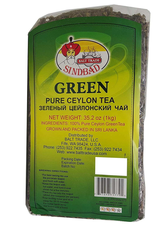 Sindbad Pure Big Leaf Green Ceylon Loose Tea, 1 Kg