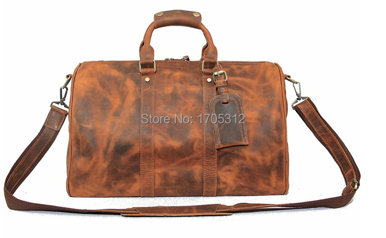 High quality Vintage Genuine Leather Duffle bag retro Gym Luggage Weekend Travel Bag for Men new style men leather travel bag
