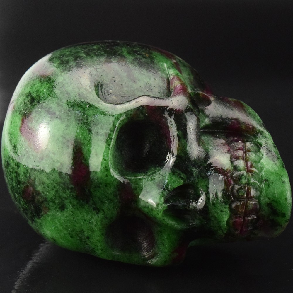 new arrive 3 inch natural Ruby carved realistic skull semi previous stone skull carving