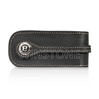 Metal Car Logo Buckle Cowhide Leather Key Case