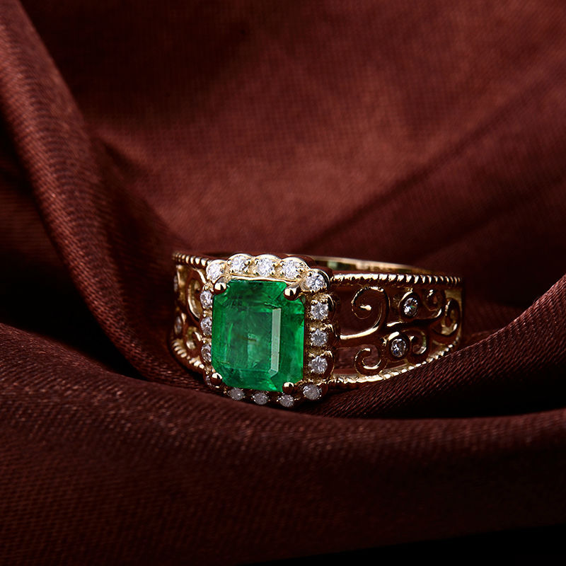 Hot Gold ring designs for men Emerald Cut 6x8mm Natural Emerald And Diamond 1