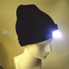 black beanies with led lights with a company logo on front