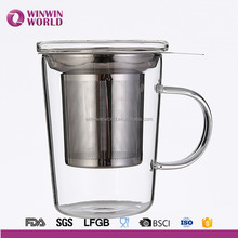 Promotional Various Color Products Christmas Gift Glass Tea Filter Cup