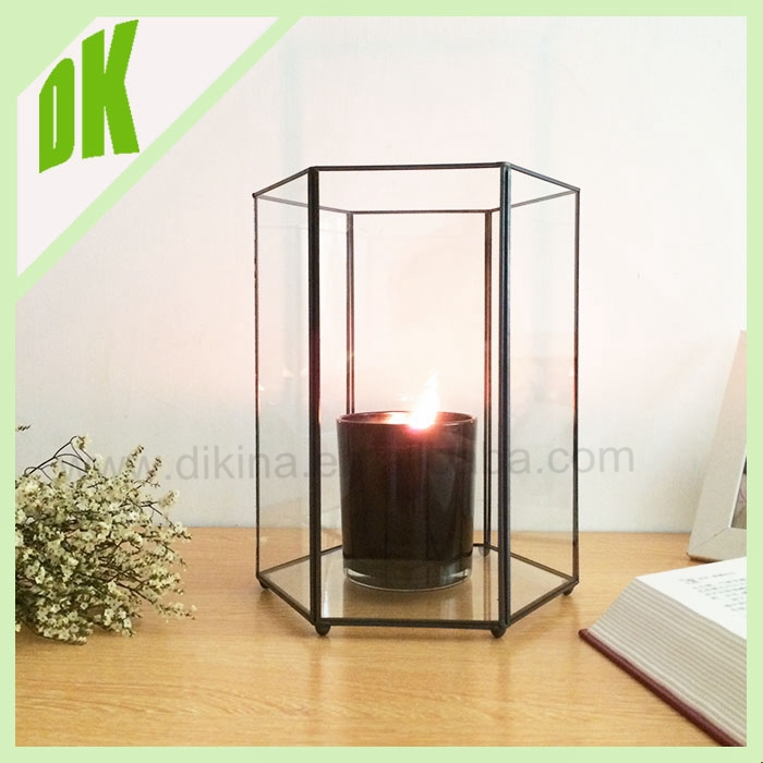 Glass Metal Retro Hanging Candle Holder Tea Light Stand