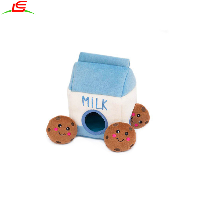 High Quality Interactive Squeaky Hide and Seek Plush Dog Toy <strong>Pet</strong> Toys plush Milk and Cookies