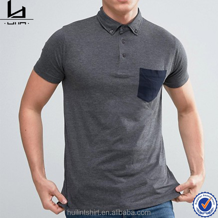 newest button down collar chest pocket cheap high quality polo shirts