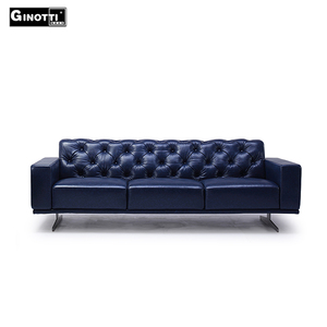 German style blue tufted unique pure leather chesterfield sofa