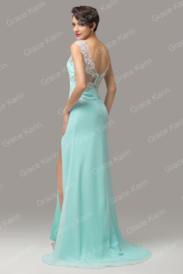 Grace Karin Ladies Formal Evening Dress Sleeveless High Leg Split ...