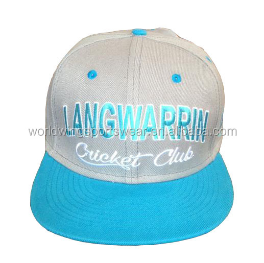 Ladies custom 100% cotton twill embroidered sky blue and grey embroidered baseball cap