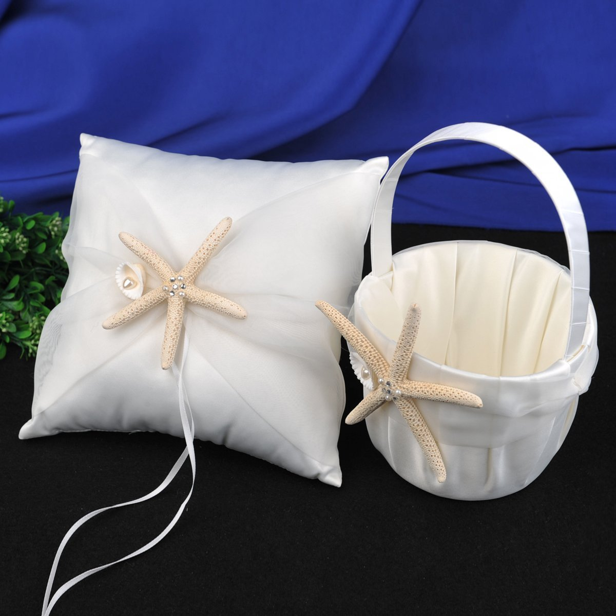 Cheap starfish girl find starfish girl deals on line at alibaba get quotations topwedding satin and organza ivory wedding ring pillow and flower girl basket set with starfish izmirmasajfo Images