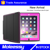 Hot leather case for iPad 2 for ipad 3 for ipad 4 smart leather case with wallet adjustable stand