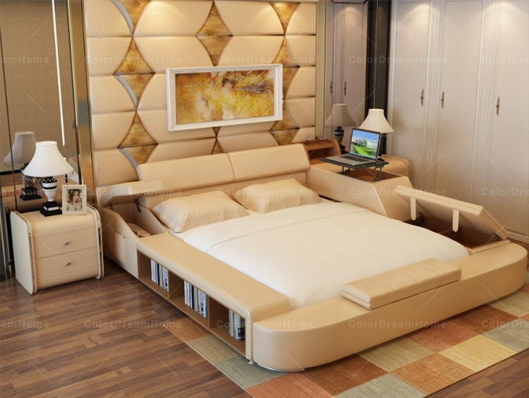 Dorable Cama De Madera Con Muebles De Almacenamiento Ornamento ...