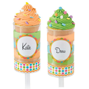 Mini Plastic round shape clear push up cake pop shooter push pops cake ice cream top containers