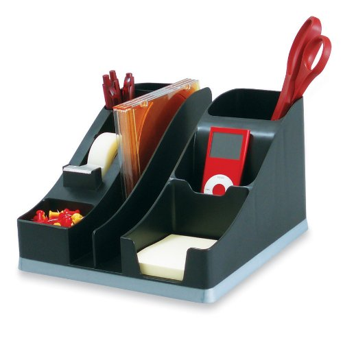 """Deflecto Silhouettes All-In-One Desk Caddy, Office Supplies Caddy, Black With Silver Base, 8-1/8""""W x 5-3/16""""H x 9-1/8""""D (35172)"""