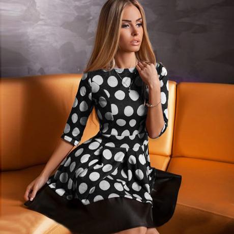 Платье mini половина, дизайн женщина casaul с круглым вырезом рукав белый dot печать элегантный