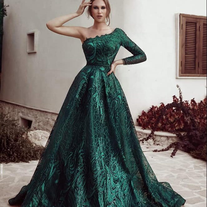 Modest Emerald Green A Line Evening Dresses 2019 Women One Shoulder Long Sleeve Lace Dress Ladies Party Formal Gown