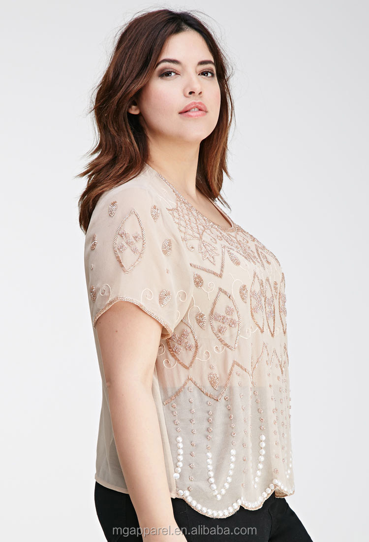 Trendy Women Short Sleeve Blouse Bead-embroidered Chiffon Blouse ...
