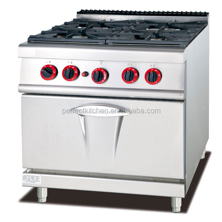 Commercial Free Standing Stainless Steel 4 Burner Gas Range with Electric Oven /Gas Cooking Ranges with Oven