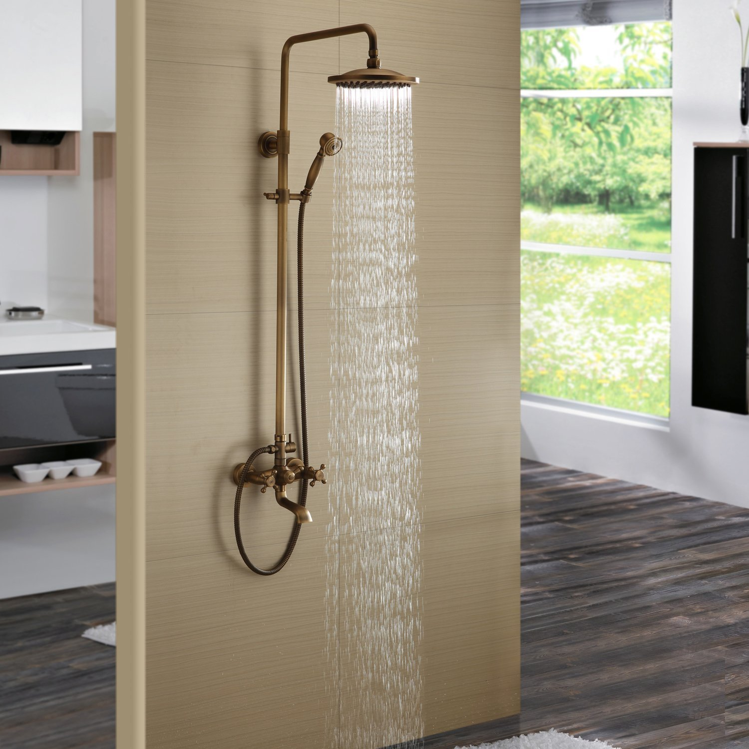 Get Quotations Bath Shower Faucet Set Complete Antique Br Finish Wall Mount With 8 Rain Head