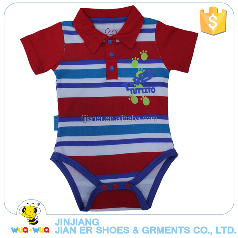 New design 0-24M baby boy stripe lapel bodysuit