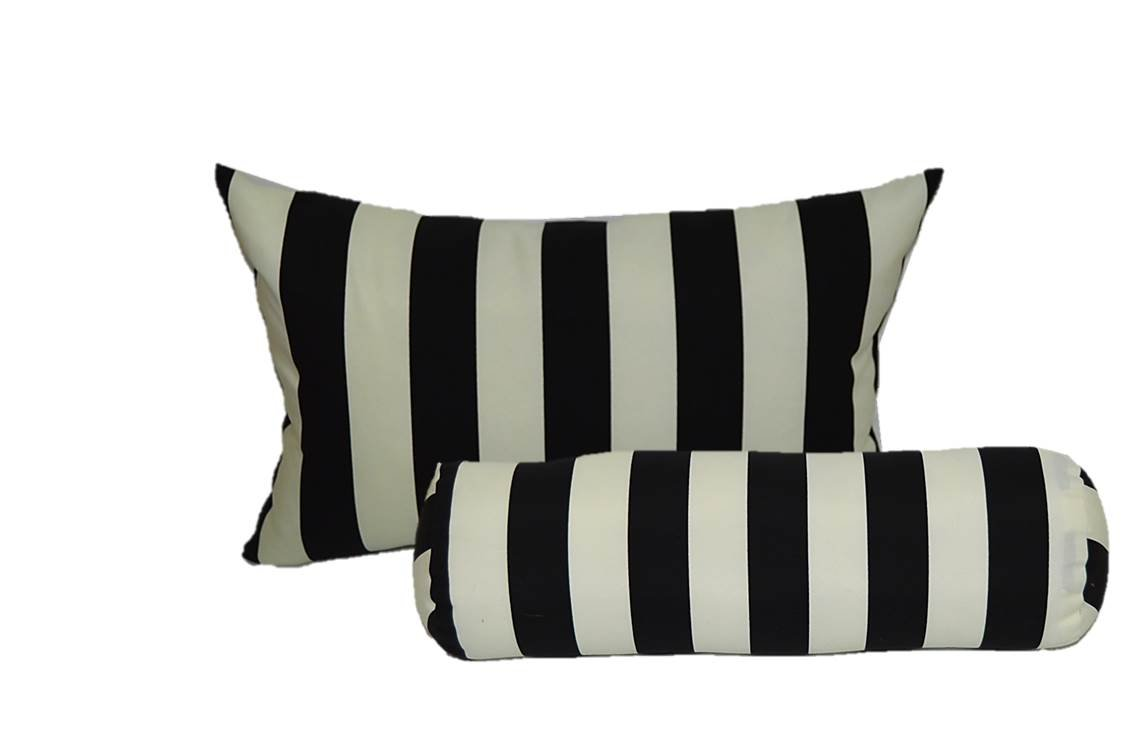 Set of 2 - Indoor / Outdoor Jumbo, Large, Over–sized, Rectangle / Lumbar & Neckroll / Bolster Chaise Lounge Decorative Throw / Toss Pillow - Black and White Stripe