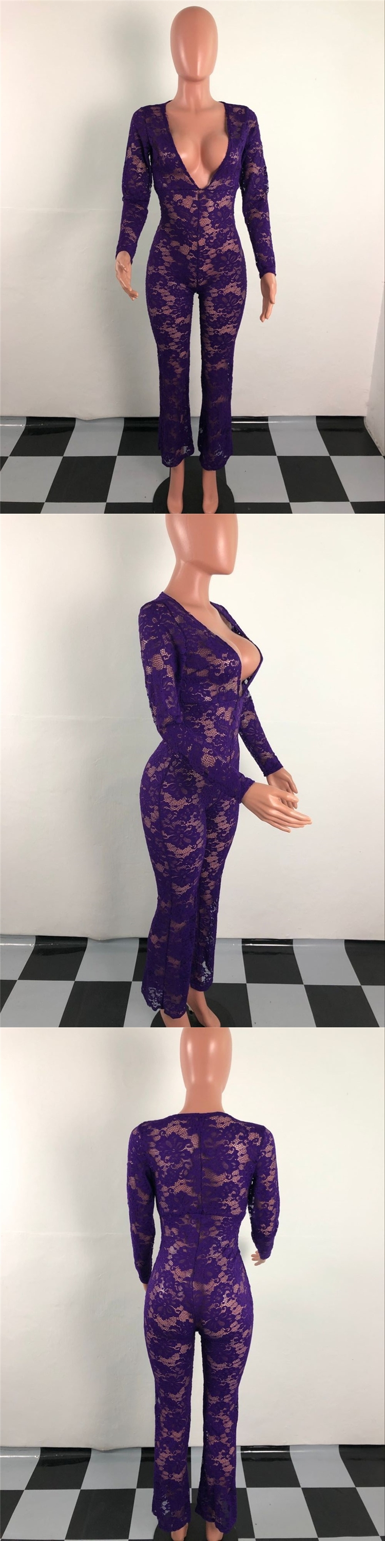 Ready to ship OEM ODM OB6061 women fashion solid sexy cleavage lace transparent jumpsuits