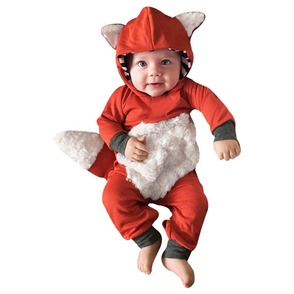 Clearance 3-18 Months Newborn Infant Baby Girls Boys Hooded Bodysuit 3D Cartoon Fox Romper Jumpsuit Outfits