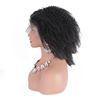 Silk base cuticle aligned virgin human hair 4A curly transparent full lace wig 250 density