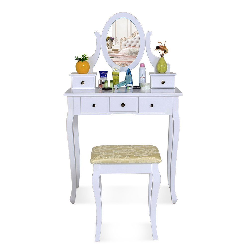 White Dressing Table Makeup Desk With 5 Drawers Stool Oval Mirror
