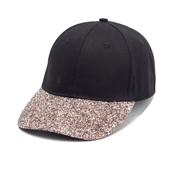 b6ecb887be0e60 Custom Cheap Womens Sparkle Glitter Brim Black Cotton Baseball Cap Dad Hats