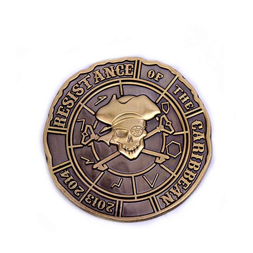 High quality cheap custom metal Antique Pirate style challenge souvenir coin