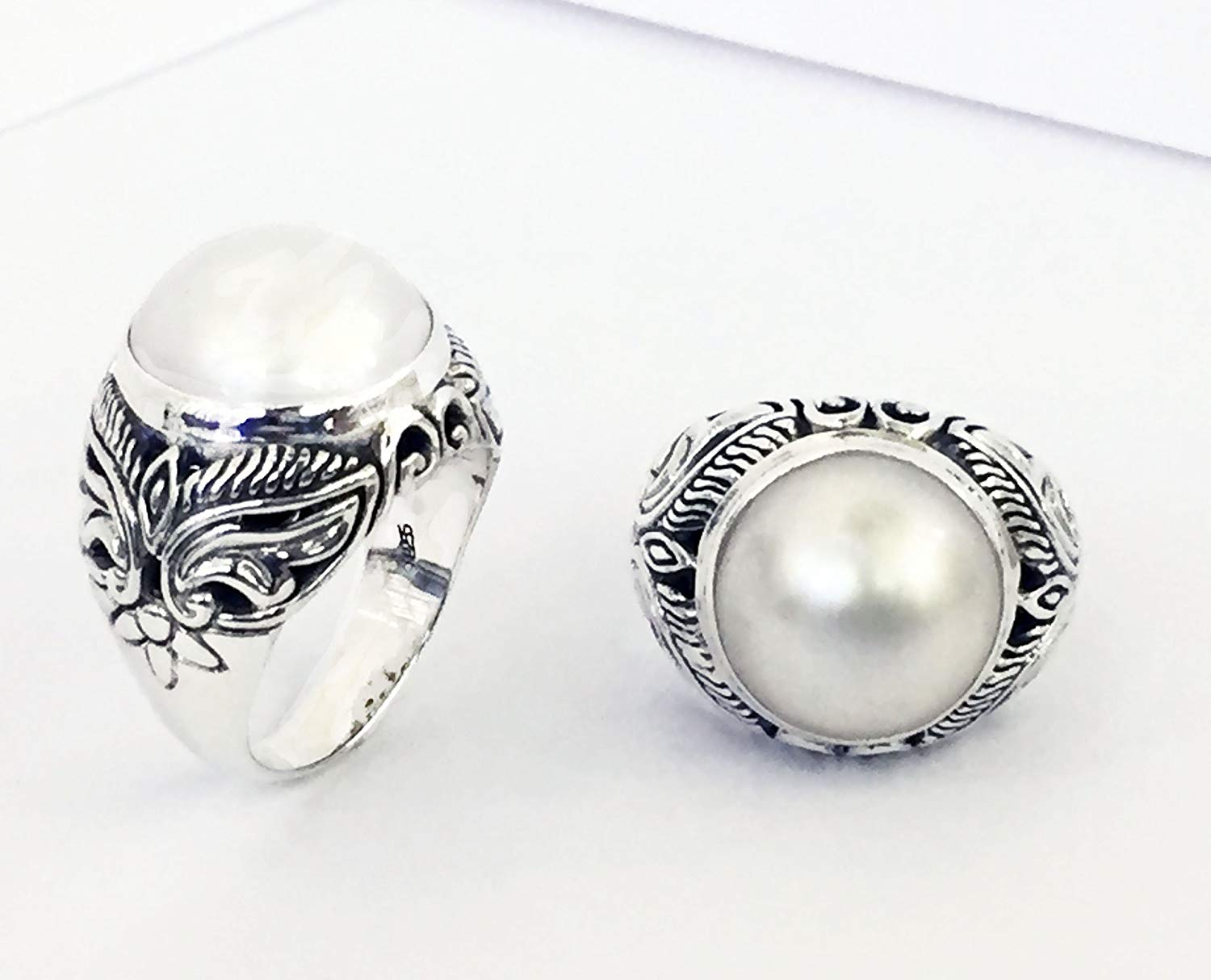 bali carving ring with cultured white mabe pearl, handmade 925 sterling silver ring with pearl, pearl ring, mabe pearl ring, silver ring with white mabe pearl,