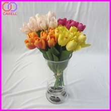 Toque natural ramalhete do casamento mini tulip flores artificia